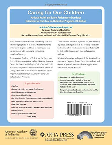Caring for Our Children: National Health and Safety Performance Standards; Guidelines for Early Care - http://medicalbooks.filipinodoctors.org