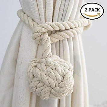 WINSHEA 2 piezas clips cortina atados de cortina cuerda de cortina abrazaderas de presillas de hebillas (Beige): Amazon.es: Hogar