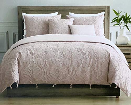 Tahari Home Maison Bedding Queen Size Luxury 3 Piece Duvet Comforter Cover Set Textured Woven Cotton Clip Jacquard Modern Abstract Pattern Darker Pink Thread on Lighter Pink - Zaha, Blush (Tahari Comforter Set Queen)