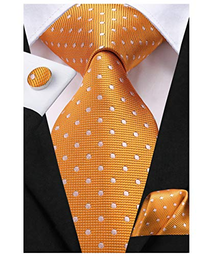 (Dubulle Orange Ties for Men Silk Necktie with Hanky Dot Pocket Square for Wedding)