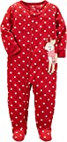 Carter's Girls' 12M-12 Christmas Reindeer Dots Fleece Pajamas Red 18 Months