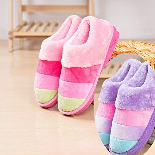 LaxBa Femmes Hommes Chaussures Slipper antiglisse à lintérieur la jeune fille Rose+violet double la fille 225036/37
