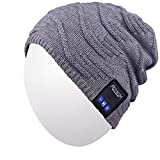 Qshell Unisex Winter Bluetooth Beanie Hat Music Cap with Headphone Headset Stereo Speakers and Mic Hands Free Outdoor Sport Skinning,Cycling,Compatible with iPhone X/8S Android Cell Phones - Gray