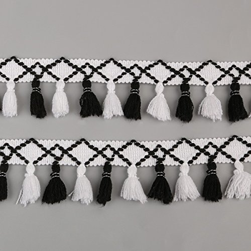 Yalulu 5 Yards Rainbow Cotton Tassel Fringe Lace Trim Ribbons Sewing Cloth DIY Crafts Sewing Curtains Clothes Craft Accessories (White&Black) - Tassel Fabric Black