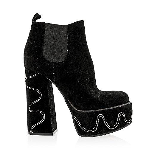 Gaimpaolo Viozzi Black Pull On Stitched Ankle Boot Black F5I9vzrNB
