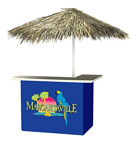 Best of Times 2001W2308P Margaritaville-PALAPA Portable Bar and 8 ft Tall Square Umbrella, One Size, Blue