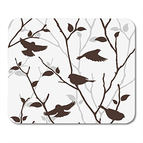 Decoupage Pad (Nakamela Mouse Pads Decoupage Beautiful with Birds and Twigs Spring with Silhouettes Bush Flock Mouse mats 9.5
