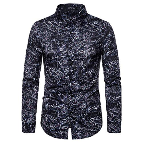 iHHAPY Men's Shirts Long Sleeve Stand Collar Floral Shirt Shirt Luxurious Shirt Print Leisure Shirts for 2019 ()