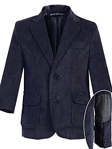 Bello Giovane Boys Single Breasted Corduroy Blazer Jacket (6, Navy) - Breasted Navy Blazer