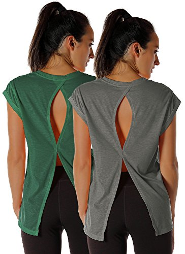 icyzone Open Back Workout Top Shirts - Yoga t-Shirts Activewear Exercise Tops for Women(Pack of 2) (L, Charcoal/Army)