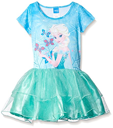 [Disney Little Girls' Frozen Elsa Tutu Dress, Bleached Teal, XS4/5] (Dresses Of Frozen)