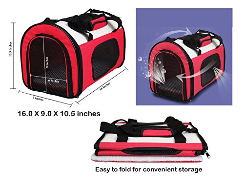 Reelok Portable Soft Sided Airline Approved Dog Carrier Pet Travel Bag Pet Home Comfortable Pink Carrier for Cats, Puppies and Small Animals by Reelok (Image #5)