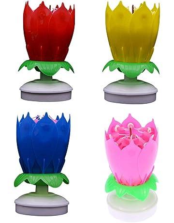 LEDMOMO Vela de cumpleaños LED Velas de Lotus 4pcs Música vela giratoria con canción de feliz