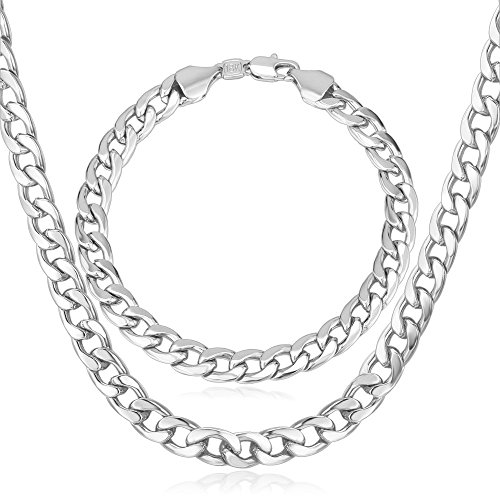 """U7 Men Chunky Necklace Bracelet Set 18K Stamp Jewelry Thick 7MM Wide Platinum Plated Cuban Curb Chain,20""""/8.3"""""""