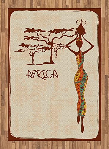 African Woman Area Rug by Ambesonne, Vintage Africa Themed Illustration Slim Indigenous Girl Figure Colorful Dress, Flat Woven Accent Rug for Living Room Bedroom Dining Room, 5.2 x 7.5 FT, Multicolor by Ambesonne