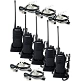 Retevis RT1 10W Two Way Radio UHF 400-520 MHz 16CH VOX 3000mAh Handheld Transceiver and 2 Pin PTT Covert Acoustic Earpiece (5 Pack)