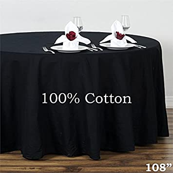 BalsaCircle 108u0026quot; Round Cotton Tablecloths Wedding Linens   Black