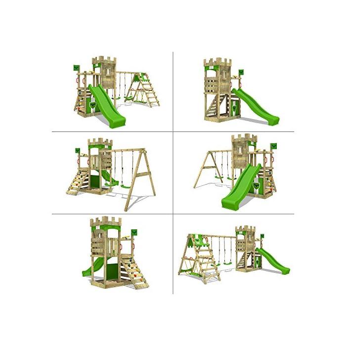 51i5wTELqmL FATMOOSE Torre de escalada con SurfSwing, columpio doble y plataforma de juego grande - Calidad-y- seguridad verificadas Madera maciza impregnada en clave, de fácil mantenimiento - Viga de columpio de 9x9cm y postes verticales de 7x7cm Instrucciones de montaje detalladas para un montaje fácil - Cajón de arena integrado XXL - Plataforma 120cm