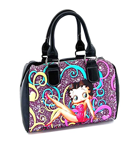 Betty Boop Handbag Satchel Floral On Black