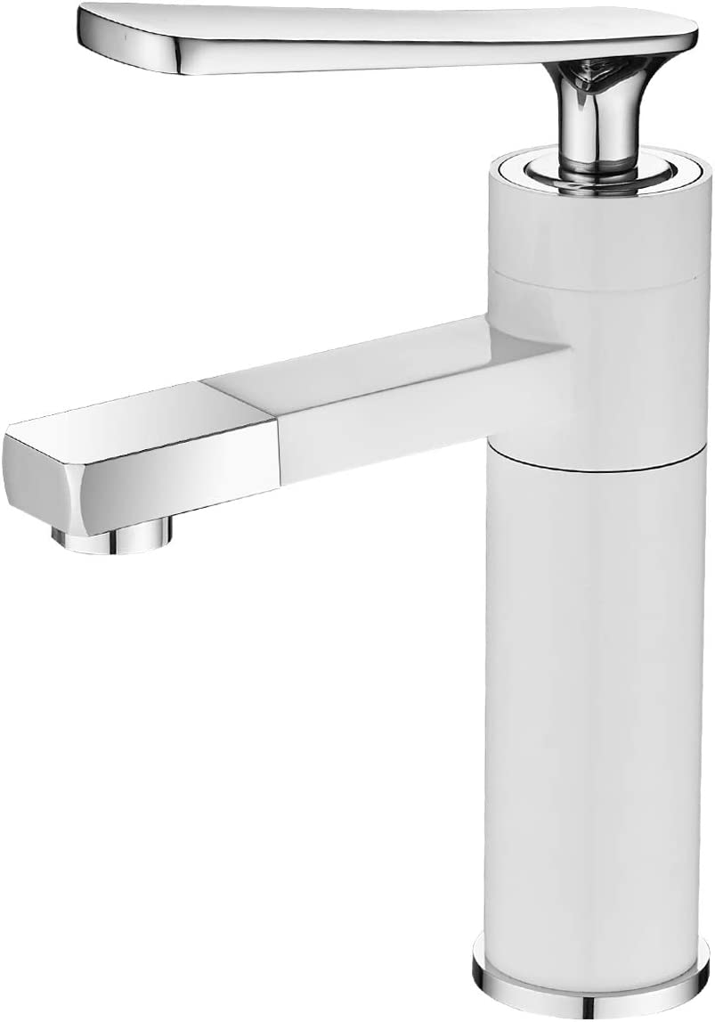 Freedom ABC Single Handle Faucet 360 Rotation Tap for Bathroom, Lavatory, Washbasin, Travel Trailers Campers – White Chrome