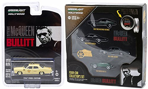 Steve Mcqueen Bullitt Car Set Hollywood Movie Series 5 cars Greenlight 1968 Dodge Charger & 1968 Ford Mustang Gt + 1967 Ford Custom