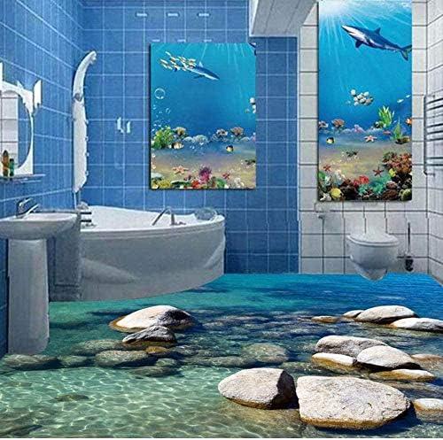 Bosakp 3D現代の写真の壁紙小石の波紋水床絵画壁画ステッカーPvc防水耐摩耗3 Dの壁紙 360X250Cm