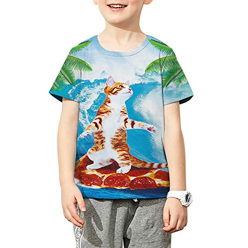 Funnycokid Funny Surfing Pizza Cat Tee Shirt Teens Boys Short Sleeve Aloha Summer T-Shirt 14-16]()