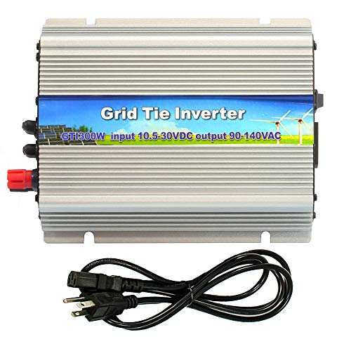 iMeshbean 300W Solar Grid Tie Inverter, MPPT Pure Sine Wave Inverter DC 10.8-30V to AC 110V, Work with 12V / 24V Solar Panel System