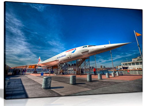 Concorde Jet (Ba Concorde Jet Plane Canvas Wall Art Picture Print (30x20in))