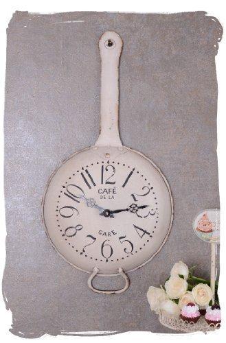 Amazon De Wanduhr Shabby Chic Kuchenuhr Pfanne Uhr Im Landhausstil