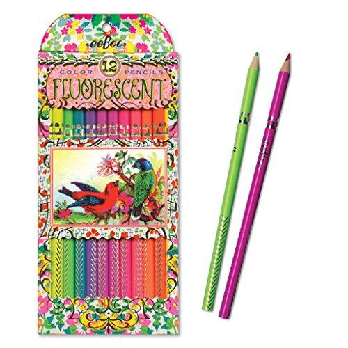 - eeBoo Fluorescent Colored Pencils, Victorian Birds, Set of 12
