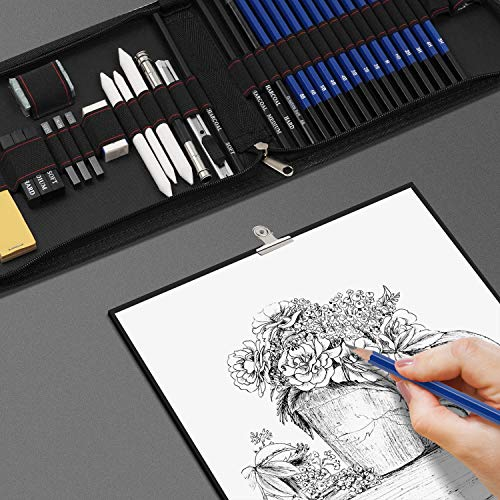 36 PCS Sketching Pencils Set, Professional Sketch&Drawing Set,Includes Graphite Pencils, Charcoal Pencils and Sticks, Paper Pen and Sketch Pad with Travel Case,Complete Artist Kit for Kids and Adults