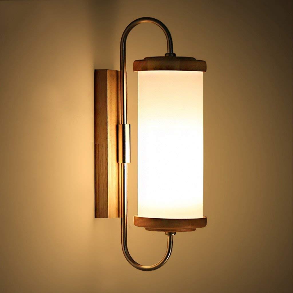 FXING Wandleuchte Einfache Nachttischlampe Massivholz LED Wohnzimmer Gang Balkon Lampe Schlafzimmer kreative Holz- Wandleuchte
