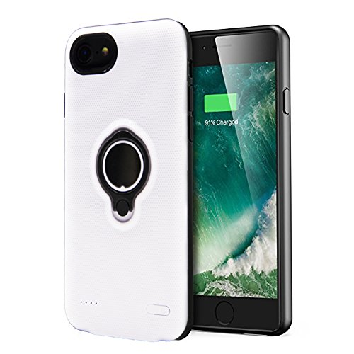 Loacy iPhone 8 Plus Battery Case 7200mAh Portable Protective Charger Case Rechargeable 5.5inches Slim Extended Battery Pack with Ring Holder Kickstand for iPhone 6 Plus/6s Plus/7 Plus/8 Plus(White)
