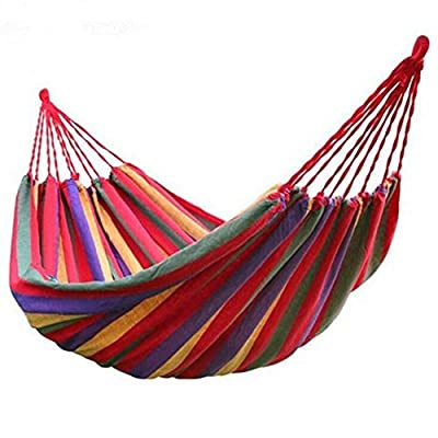 Canvas Hammock Soft Woven Bed for Travel Camping Outdoor Indoor Use with Backpack - Dimensions: 110(L) x 60(W) inch. Bed Size: 75 inch x 60 inch. This hammock is easy to carry wherever you go. Please pay attention to the product's folding method when you open it so that you can put it into the bag successfully after use. It's designed to safely support a maximum support weight: 450 lbs (two people) - patio-furniture, patio, hammocks - 51i5yPwzFNL. SS400  -