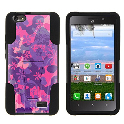 TurtleArmor | Huawei Raven Case LTE | H892L [Gel Max Cover] High Impact Kickstand Case Gel and Hard Plastic Combo Camo Design Collection - Pink Purple Flowers