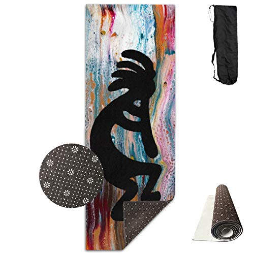 Unisex Fitness Yoga Mat Colorful Coated Duck Kokopelli Unique Non-Slip Pattern Towels,Pilates Sports Paddle Board Yoga Exercise 24 X 71 Inches Durable Yoga Mats,All-Purpose