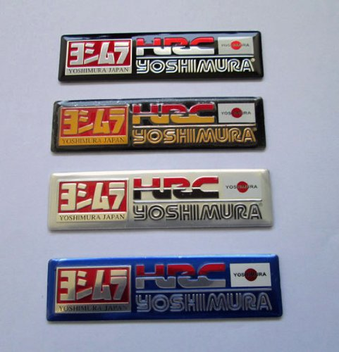 4x HRC Honda Racing Yoshimura Japan Aluminum Plate Decal Exhaust System Sticker