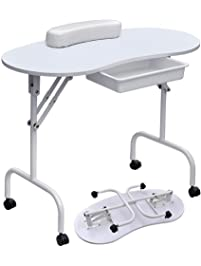 Yaheetech 37''L Portable & Foldable Manicure Table Nail Technician Desk Workstation with with Client Wrist Pad/Lockable...