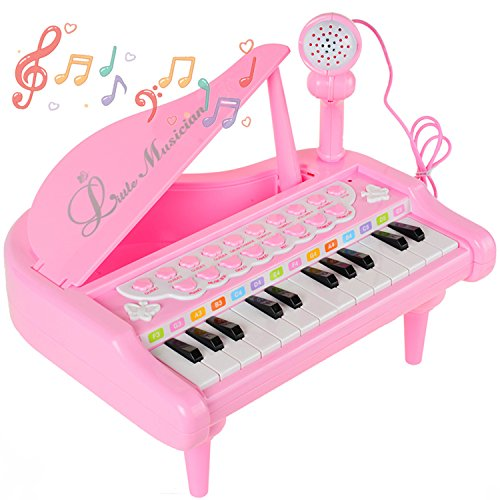 INNÔPLUS Electronics Training Piano Music Keyboard Toys with Microphone for 2 3 4 5 6 Year Old Little Girl Kid Toddler, Musical Instruments Birthday Gift by INNÔPLUS