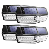 LITOM 30 LED Solar Lights Outdoor, Wireless Solar Motion Sensor Lights with 270°Wide Angle, IP67 Waterproof, Easy-to-Install Security Lights(Cool White) for Front Door, Yard, Garage, Deck-4 Pack