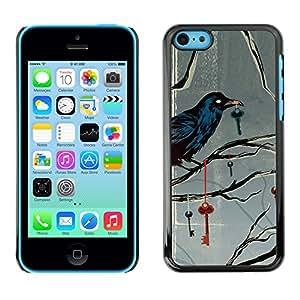 ZABU Prima Delgada SLIM Casa Carcasa Funda Case Bandera Cover Armor Shell PC / Aliminium // raven key metaphor deep gray grey // Apple Iphone 5C