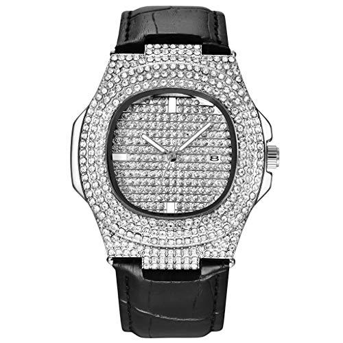 XBKPLO Quartz Watches Men's Full Crystal Waterproof Analog Wrist Watch Calendar Window Temperament Leather Strap Business Watch Jewelry Gift