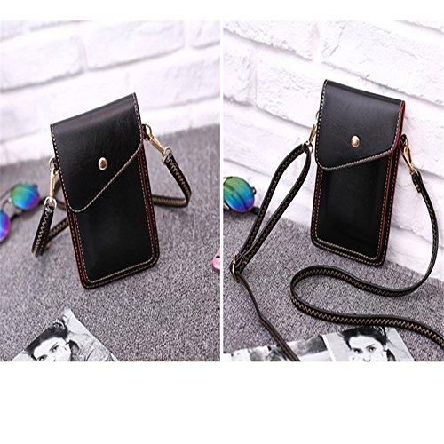 la Diagonal Versión Negro través de la a negro Diagonal Coreana teléfono Mini Bolsa de Moda Bandolera Bolsa Queta Negro fqnwtFxw