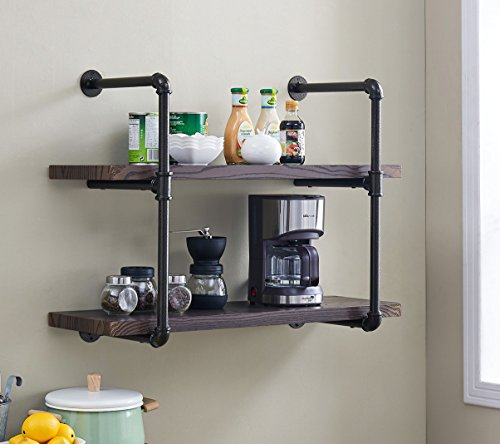 Homissue 2-Shelf Rustic Pipe Shelving Unit, Vintage Industrial Pipe Wall Shelf, Dark Gray 2 Shelf Unit