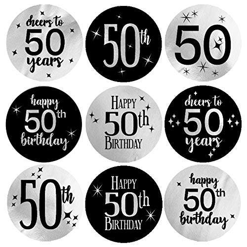 Black and Silver 50th Birthday Party Favor Labels - Shiny Foil - 180 Stickers (50th Birthday Stickers)