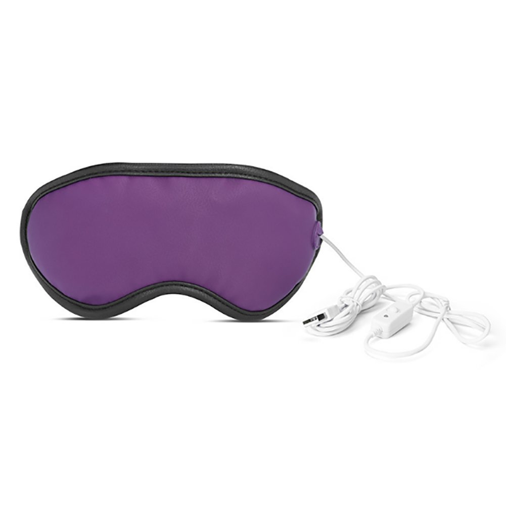 Eye Massager,USB Hot Steam Eye Mask Three-Speed Adjustable Timing Control Simulation Massage Hot Compress Can Relieve Eye Fatigue,Purple