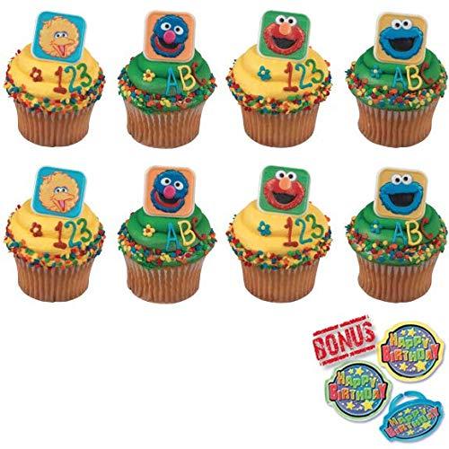 Bundle of Fun Sesame Street Blocks Cupcake Toppers and Bonus Birthday Ring - 25 Piece]()