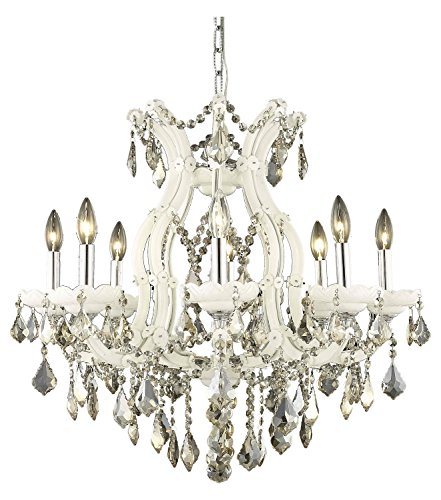 Elegant Lighting 2800D26Wh-Gt/Ss Swarovski Elements Smoky Golden Teak Crystal Maria Theresa 9-Light, Single-Tier Crystal Chandelier, Finished in White with Smoky Golden Teak Crystals ()