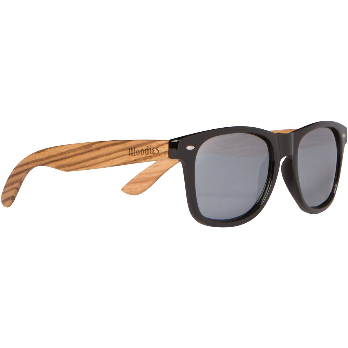WOODIES Zebra Wood Sunglasses with Silver Mirror Polarized Lens